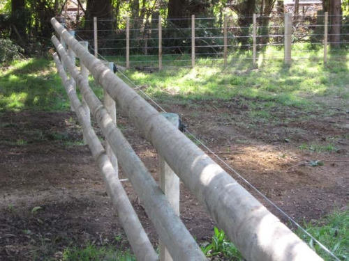 Post and Three Railed Fence