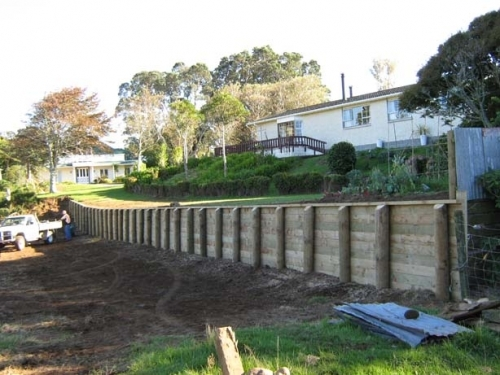 Driven Poled Retaining Wall
