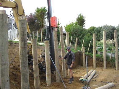 Pole Driving for Retaining Wall