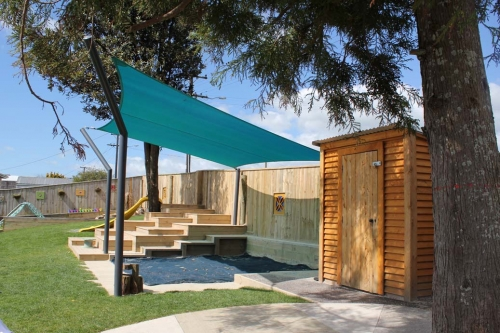 Shaded Sandpit and Storage Shed